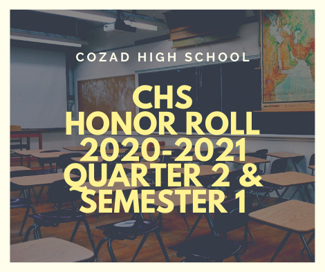 2020-2021 Honor Roll For Quarter 2 and Semester 1