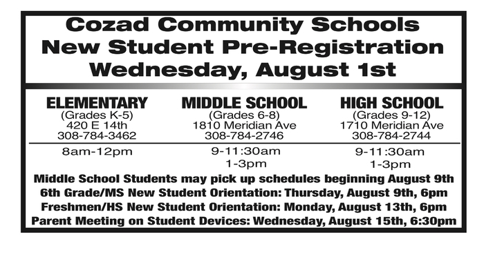 New student and orientation dates