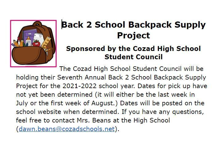 Back 2 School Backpack Project 21-22