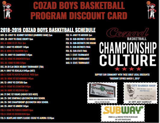 Basketball Discount Card