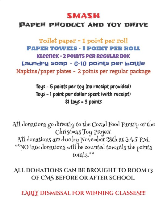 MS Paper Product and Toy Drive