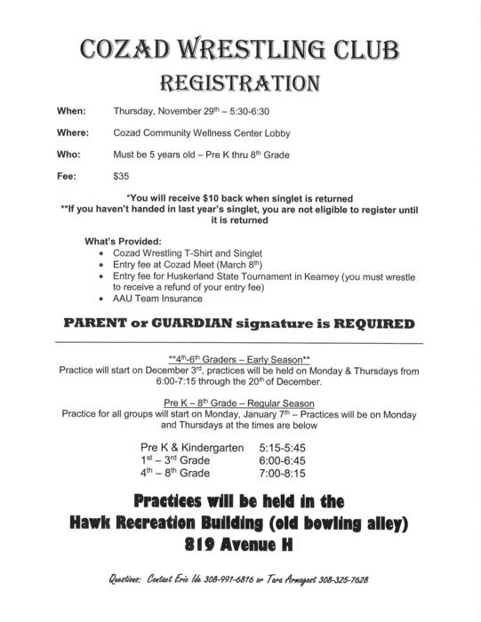 Wrestling Club Registration