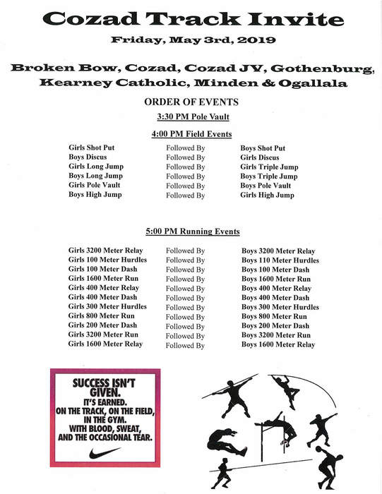 Cozad Track Invite Order of Events