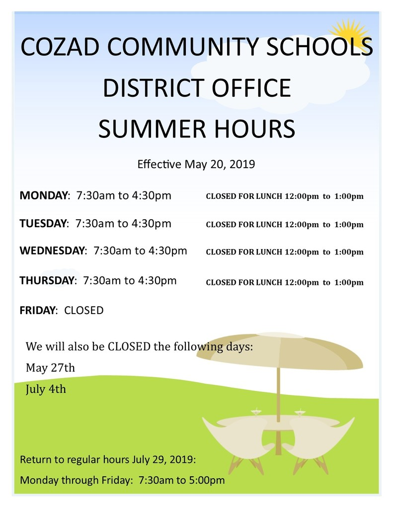 Summer District Office Hours