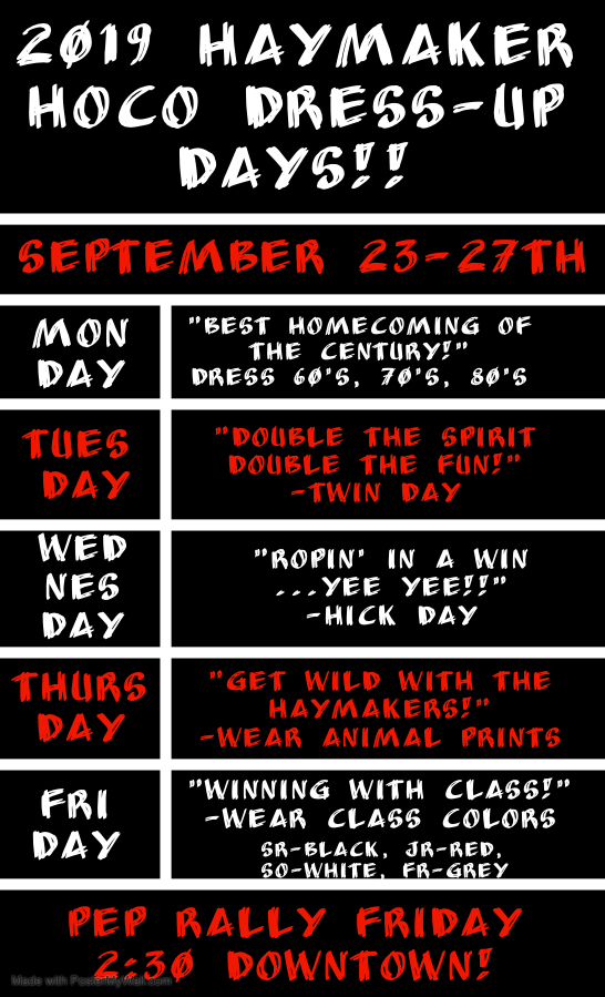 Homecoming 2019 Dress up days