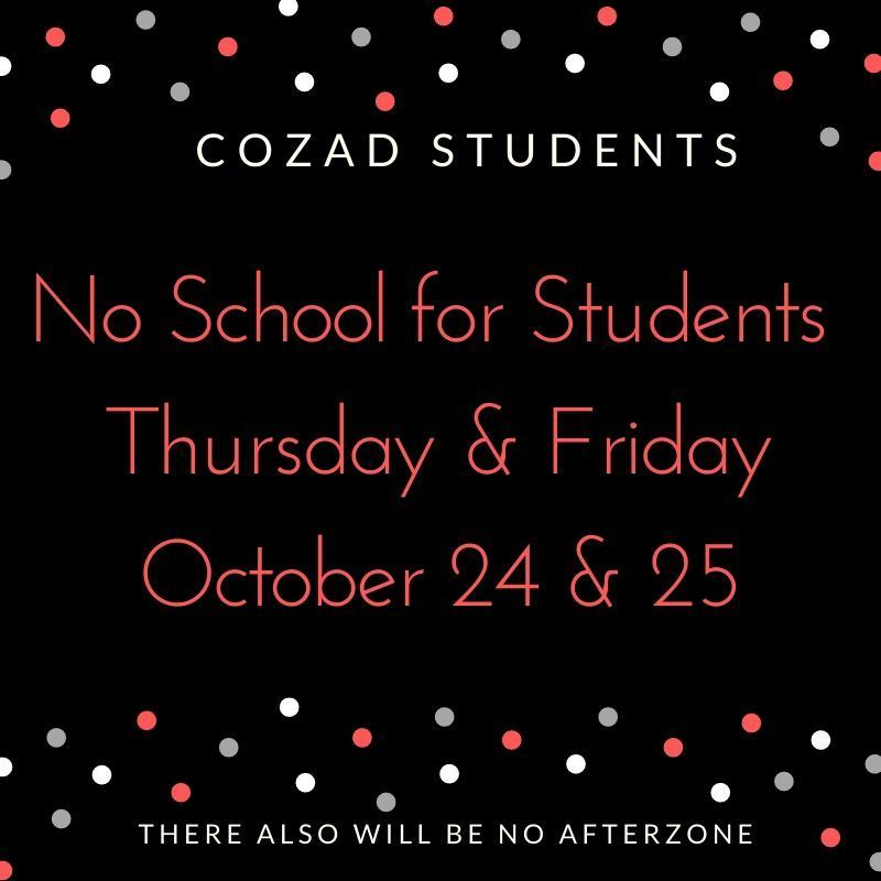 No School Oct 24 and 25