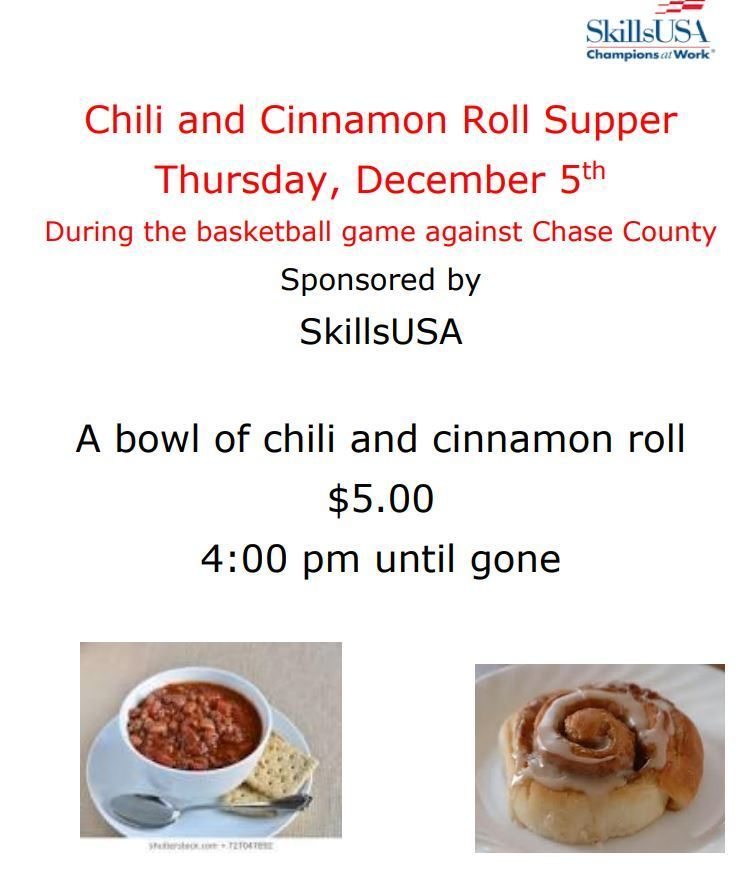 Skills USA Chili and Cinnamon Roll Supper