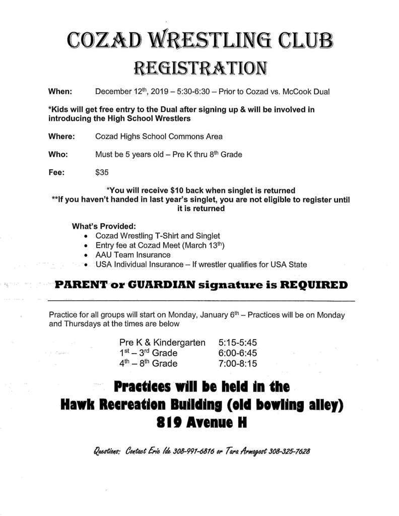 Youth Wrestling Club Registration 2020