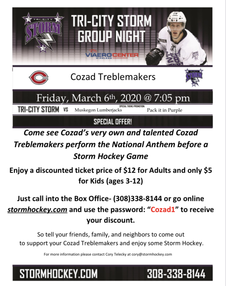 Treblemakers at Storm Hockey game
