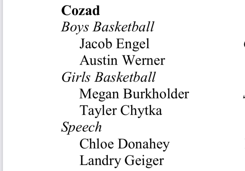 NCPA Academic All-State - Winter 2019/2020