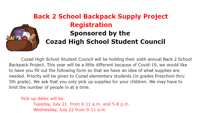 Backpack Supply Registration