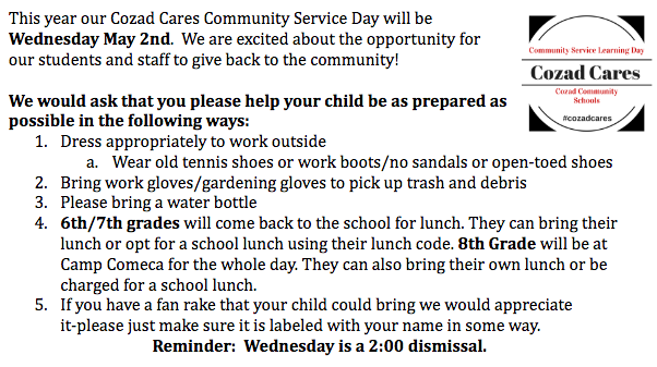 CMS Service Day Reminders